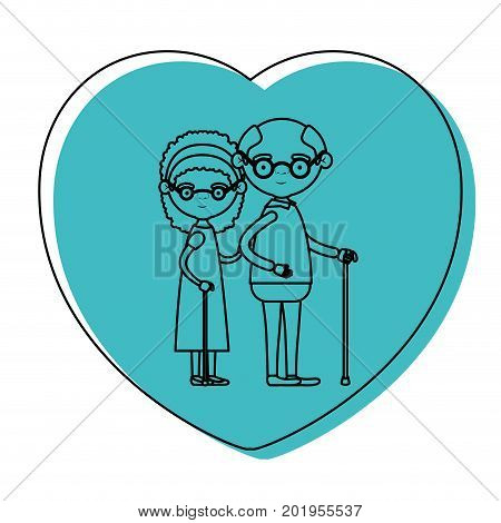 heart shape greeting card with caricature full body elderly couple embraced grandfather with glasses in walking stick and grandmother with bow lace and curly hair in blue watercolor silhouette vector illustration