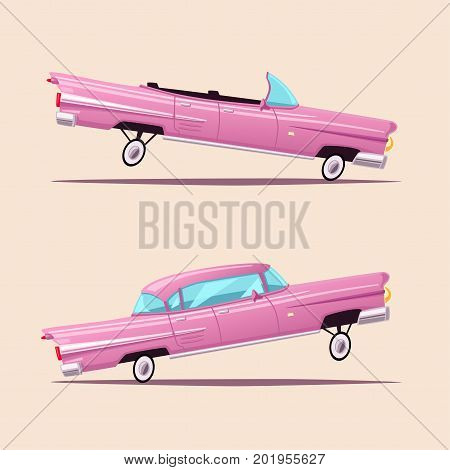 Retro car. Vintage lowrider. Cartoon vector illustration. Oldschool style. For stickers, banners logo