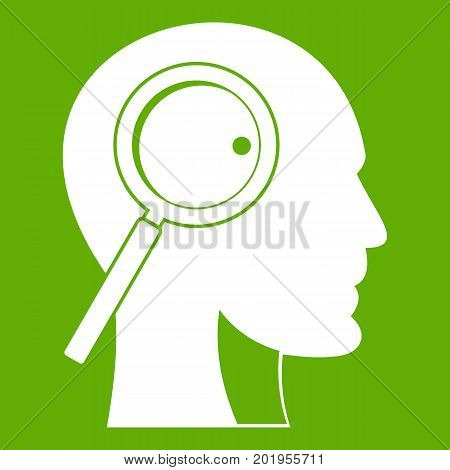 Magnifying glass in head icon white isolated on green background. Vector illustration