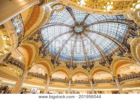 PARIS, FRANCE - August 02, 2017: Interior view of the Lafayette commercial centre on Haussmann boulevard in Paris. This gallery is a part of the company Groupe Galeries Lafayette