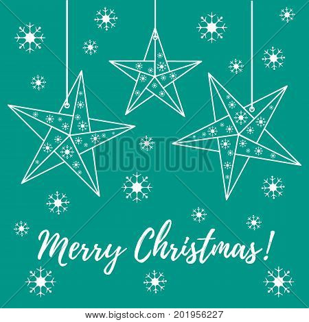Vector Illustration With Snowflakes And Three Stars Origami Folded And Hanging On The Ropes.