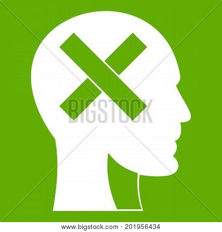 Human head with cross inside icon white isolated on green background. Vector illustration