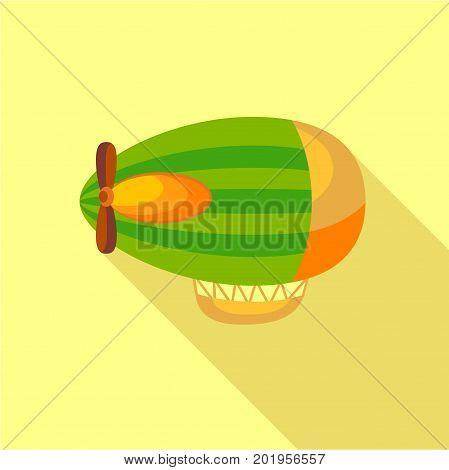 Green airship icon. Flat illustration of green airship vector icon for web