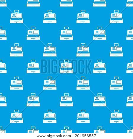 Cash register with cash drawer pattern repeat seamless in blue color for any design. Vector geometric illustration