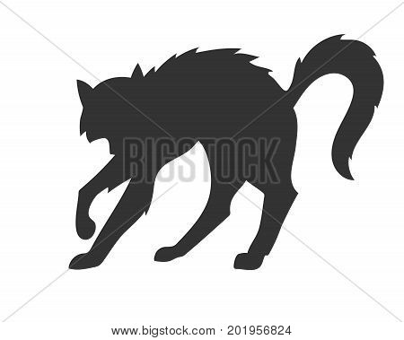 black vector silhouette of the arched disheveled cat on the white background