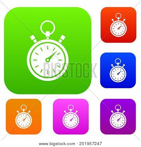 Stopwatch set icon in different colors isolated vector illustration. Premium collection