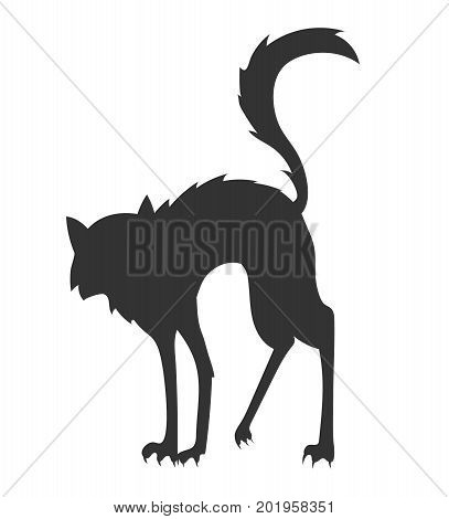 simple black cartoon vector silhouette of the arched disheveled cat on the white background