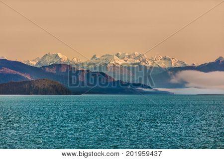 Alaska mountains cruise nature landscape in inside passage, Glacier bay, Alaska, USA. America wilderness background.