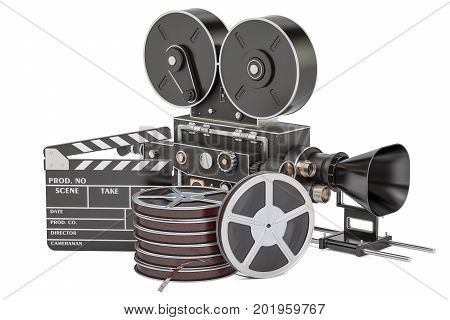 Cinema concept. Clapperboard with film reels and movie camera 3D rendering isolated on white background