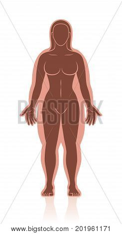 Weight loss and weight gain - before-after image of a slim and overweight woman with and without fat deposits - isolated vector illustration.