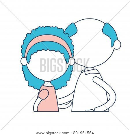 faceless half body elderly couple with grandmother bow lace and curly hairstyle and grandfather in color section silhouette vector illustration