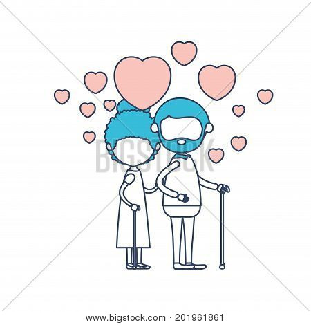 faceless caricature full body elderly couple embraced with floating hearts grandfather in walking stick and grandmother with collected hair in color section silhouette vector illustration