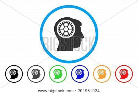 Head Cogwheel vector rounded icon. Image style is a flat gray icon symbol inside a blue circle. Additional color variants are gray, black, blue, green, red, orange.