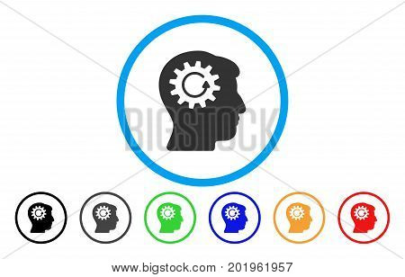 Head Gear Rotation vector rounded icon. Image style is a flat gray icon symbol inside a blue circle. Additional color versions are gray, black, blue, green, red, orange.