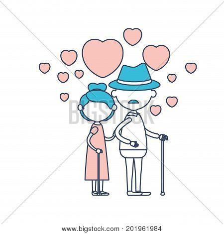 faceless caricature full body elderly couple embraced with floating hearts grandfather with hat in walking stick and grandmother with collected hair in color section silhouette vector illustration