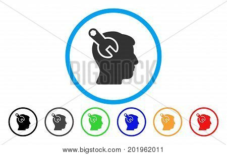Head Neurology Wrench vector rounded icon. Image style is a flat gray icon symbol inside a blue circle. Bonus color variants are gray, black, blue, green, red, orange.