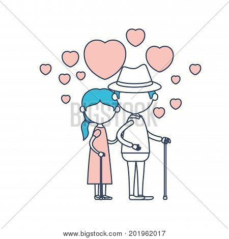 faceless caricature full body elderly couple embraced with floating hearts grandfather with hat in walking stick and grandmother with side ponytail hair in color section silhouette vector illustration