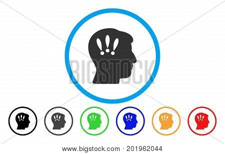 Head Problems vector rounded icon. Image style is a flat gray icon symbol inside a blue circle. Bonus color variants are gray, black, blue, green, red, orange.