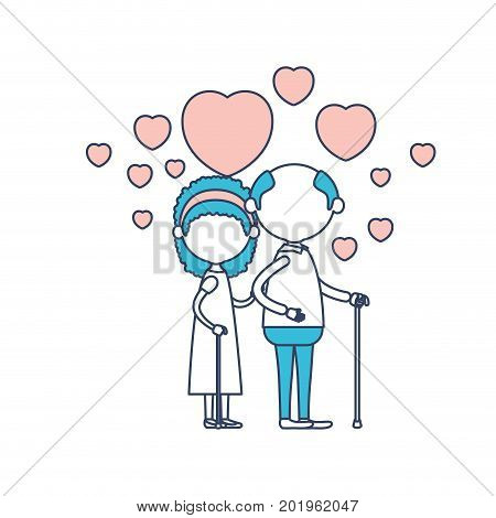 faceless caricature full body elderly couple embraced with floating hearts grandfather in walking stick and grandmother with bow lace and curly hair in color section silhouette vector illustration