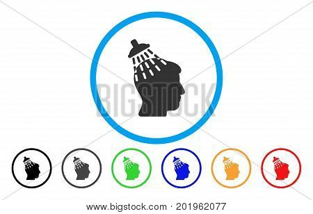 Head Shower vector rounded icon. Image style is a flat gray icon symbol inside a blue circle. Bonus color variants are grey, black, blue, green, red, orange.