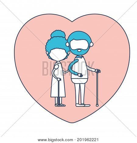 faceless caricature full body elderly couple in heart shape greeting card embraced with bearded grandfather in walking stick and grandmother with curly bun hair in color section silhouette vector illustration