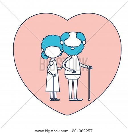 faceless caricature full body elderly couple in heart shape greeting card embraced with bearded grandfather in walking stick and grandmother with curly collected hair in color section silhouette vector illustration