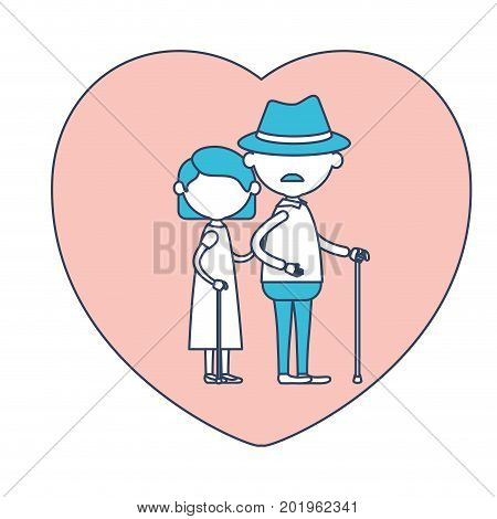 faceless caricature full body elderly couple in heart shape greeting card embraced with grandfather with hat and moustache in walking stick and grandmother with short hair in color section silhouette vector illustration