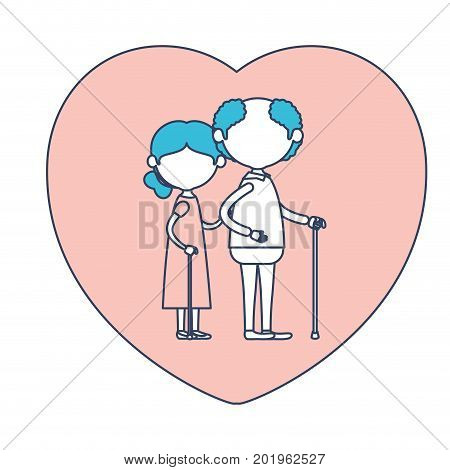 faceless caricature full body elderly couple in heart shape greeting card embraced with grandfather in walking stick and grandmother with collected hair in color section silhouette vector illustration
