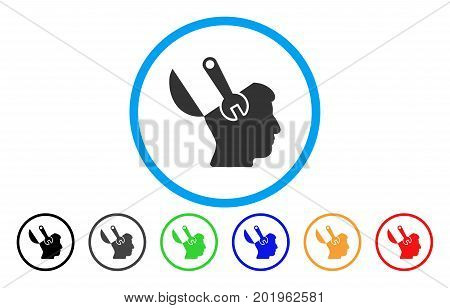 Mind Wrench Surgery vector rounded icon. Image style is a flat gray icon symbol inside a blue circle. Bonus color versions are grey, black, blue, green, red, orange.