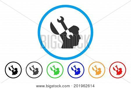 Mind Wrench Tools vector rounded icon. Image style is a flat gray icon symbol inside a blue circle. Additional color variants are gray, black, blue, green, red, orange.
