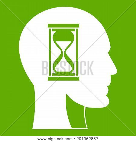 Hourglass in head icon white isolated on green background. Vector illustration