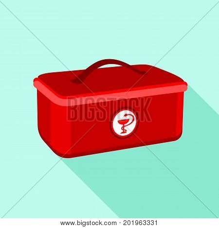 Medical box icon. Flat illustration of medical box vector icon for web