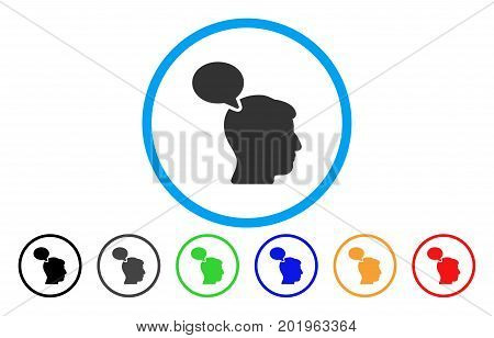 Person Opinion vector rounded icon. Image style is a flat gray icon symbol inside a blue circle. Additional color variants are gray, black, blue, green, red, orange.