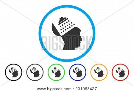 Propaganda Brain Shower vector rounded icon. Image style is a flat gray icon symbol inside a blue circle. Bonus color variants are grey, black, blue, green, red, orange.