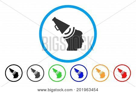 Propaganda Megaphone vector rounded icon. Image style is a flat gray icon symbol inside a blue circle. Bonus color versions are gray, black, blue, green, red, orange.