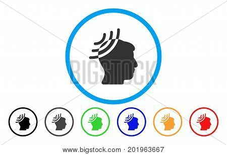 Radio Reception Head vector rounded icon. Image style is a flat gray icon symbol inside a blue circle. Bonus color versions are grey, black, blue, green, red, orange.