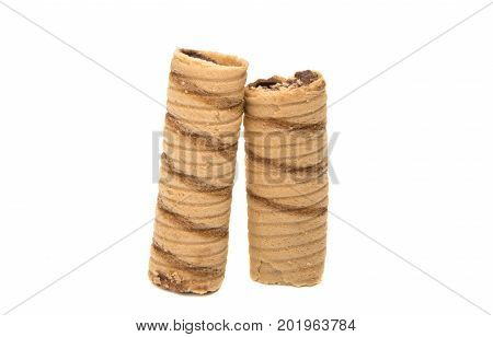 Wafer tubule with chocolate isolated on white background