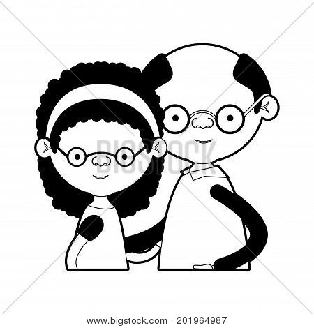 caricature half body couple elderly of grandmother with curly medium hair with grandfather with glasses in black silhouette sections vector illustration