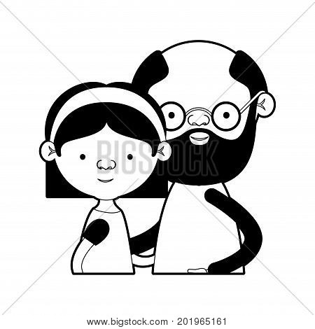caricature half body couple elderly of grandmother with straight short hair with grandfather with beard and glasses in black silhouette sections vector illustration