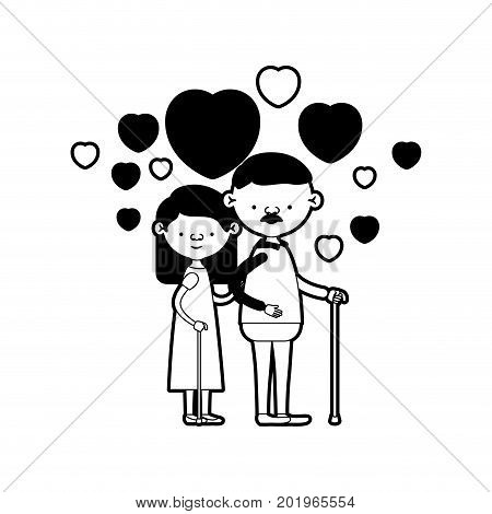 caricature full body elderly couple embraced with floating hearts grandfather with moustache in walking stick and grandmother with straight hair in black silhouette sections vector illustration