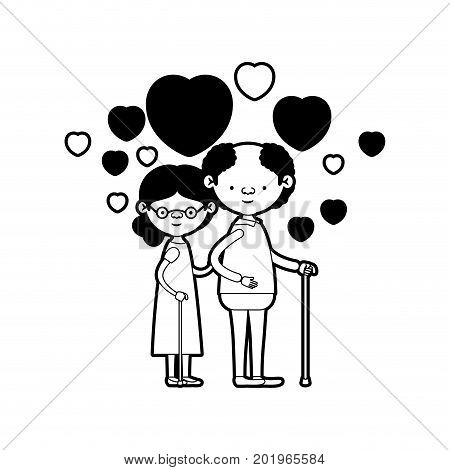 caricature full body elderly couple embraced with floating hearts grandfather in walking stick and grandmother with collected hair and glasses in black silhouette sections vector illustration
