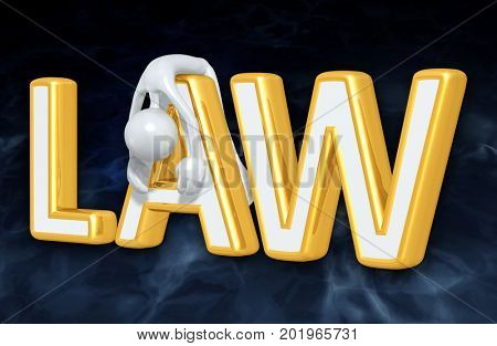 Law Concept With The Original 3D Character Illustration Slumped Over