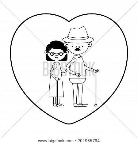 caricature full body elderly couple in walking stick with heart shape greeting card bearded grandfather in walking stick and grandmother with wavy hair in black silhouette sections vector illustration