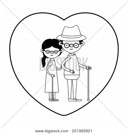 caricature full body elderly couple in walking stick with heart shape greeting card grandfather with hat and glasses in walking stick and grandmother with ponytail hair in black silhouette sections vector illustration