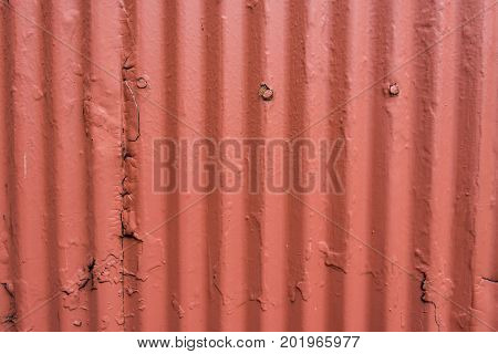 Corrugated Steel Wall with Thick Orange Paint