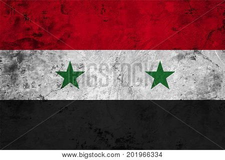 Flag of the Syria against the background of the stone texture
