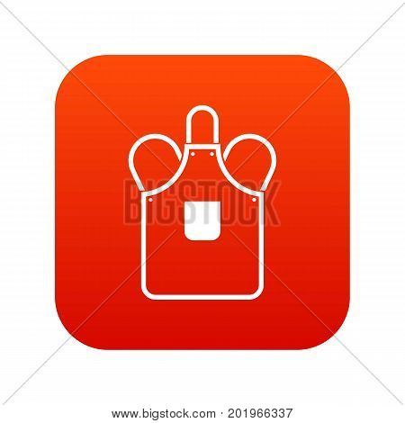 Blacksmiths apron icon digital red for any design isolated on white vector illustration