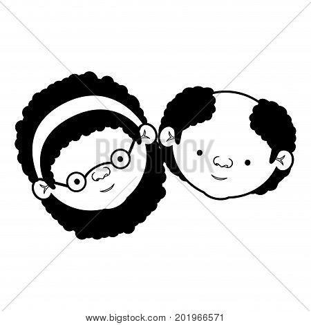 caricature face of elderly couple grandmother with bow lace curly hairstyle and grandfather with few beard hair in black silhouette sections vector illustration