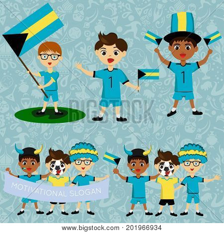 Set of boys with national flags of Bahamas. Blanks for the day of the flag independence nation day and other public holidays. The guys in sports form with the attributes of the football team