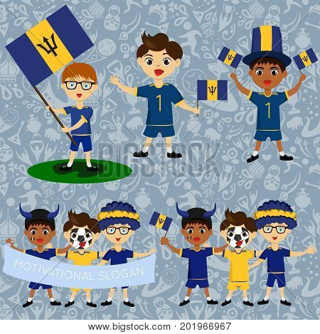 Set of boys with national flags of barbados. Blanks for the day of the flag independence nation day and other public holidays. The guys in sports form with the attributes of the football team